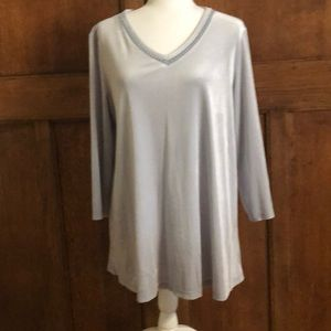 Silver large top - velour style!